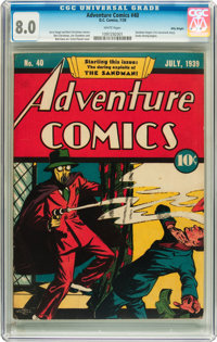 Adventure Comics #40 Billy Wright pedigree (DC, 1939) CGC VF 8.0 White pages