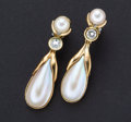 Estate Jewelry:Earrings, Dangling Pearl Gold Earrings. ...