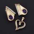 Estate Jewelry:Other , Gold & Diamond Heart Pendant & Amethyst Diamond Earrings. ... (Total: 2 Items)