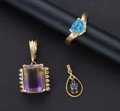 Estate Jewelry:Other , Gold Sapphire Pendant Ametrine Pendant & Blue Topaz Heart Ring. ... (Total: 3 Items)