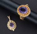Estate Jewelry:Other , Estate Amethyst Gold Ring & Pendant. ... (Total: 2 Items)