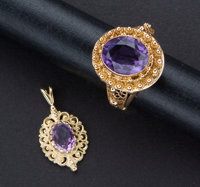 Estate Amethyst Gold Ring & Pendant