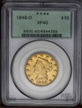 Liberty Eagles: , 1848-O $10 XF40 PCGS. Light to moderate wear is well-distributedover the orange-gold surfaces. Typically struck with hints...