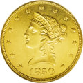 Liberty Eagles: , 1850 $10 Large Date MS61 PCGS. Ex: Bass. Extremely prooflike, andwith the Bass pedigree to boot, this coin appears much ni...