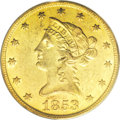 Liberty Eagles: , 1853-O $10 AU58 PCGS. An original green-gold piece without theunduly bright appearance often seen on No Motto gold. The st...