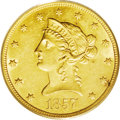Liberty Eagles: , 1857-O $10 AU58 PCGS. With a mintage figure of just 5,500 coins,the 1857-O is the third scarcest No Motto eagle from the N...