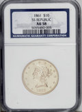 Liberty Eagles: , 1861 $10 AU58 NGC. Ex: S.S. Republic. The sharpness is Mint State,but the luster is subdued. Only one apparent mark, locat...