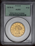 Liberty Eagles: , 1878-S $10 AU55 PCGS. The peach-gold surfaces, which retain somereflective luster, have light, even wear. Nicely struck, t...