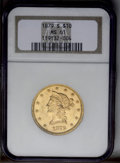 Liberty Eagles: , 1879-S $10 MS61 NGC. A well struck eagle with subdued luster andpleasing rose-gold surfaces. Minor to medium abrasions pep...