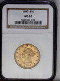 Liberty Eagles: , 1890 $10 MS62 NGC. A lightly abraded salmon-gold representative from this issue of 57,900 pieces. Nicely struck with subtle...