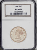 Liberty Eagles: , 1890 $10 MS60 Prooflike NGC. A heavily abraded piece that nonetheless sparkles and has moderate reflectivity. The yellow-go...