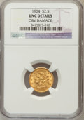 Liberty Quarter Eagles: , 1904 $2 1/2 -- Obverse Damage -- NGC Details. UNC. NGC Census:(40/3852). PCGS Population (61/3595). Mintage: 160,700. Numi...