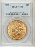 Liberty Double Eagles: , 1880-S $20 AU58 PCGS. PCGS Population (151/264). NGC Census:(369/317). Mintage: 836,000. Numismedia Wsl. Price for problem...
