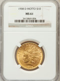 Indian Eagles, 1908-D $10 Motto MS61 NGC....