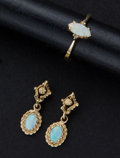 Estate Jewelry:Other , Estate Opal Earrings & Ring. ... (Total: 2 Items)