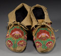 American Indian Art:Beadwork and Quillwork, A PAIR OF PLATEAU BEADED HIDE MOCCASINS. c. 1900 ... (Total: 1Pair)