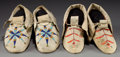 American Indian Art:Beadwork and Quillwork, TWO PAIRS OF SIOUX BEADED/QUILLED HIDE MOCCASINS. c. 1890...(Total: 2 Pair)