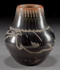 American Indian Art:Pottery, A SANTA CLARA ETCHED BLACKWARE JAR . Sammy Naranjo...