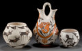 American Indian Art:Pottery, THREE ACOMA POTTERY VESSELS. Dolores Lewis, Lucy M. Lewis, and EmmaLewis. c. 1970 - 1980... (Total: 3 Items)