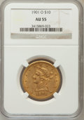 Liberty Eagles: , 1901-O $10 AU55 NGC. NGC Census: (19/377). PCGS Population(37/354). Mintage: 72,041. Numismedia Wsl. Price for problem fre...