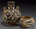 American Indian Art:Pottery, TWO ACOMA POLYCHROME JARS. c. 1890 and 1930... (Total: 2 Items)