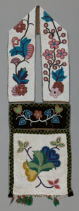 American Indian Art:Beadwork and Quillwork, A CHIPPEWA BEADED CLOTH BANDOLIER BAG. c. 1900...