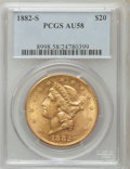 Liberty Double Eagles: , 1882-S $20 AU58 PCGS. PCGS Population (227/727). NGC Census:(376/767). Mintage: 1,125,000. Numismedia Wsl. Price for probl...