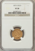 Liberty Quarter Eagles: , 1873-S $2 1/2 VF30 NGC. NGC Census: (8/236). PCGS Population(4/132). Mintage: 27,000. Numismedia Wsl. Price for problem fr...