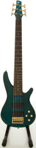 Musical Instruments:Bass Guitars, Ibanez SR506 Trans Green 6-String Electric Bass Guitar,#C412681....
