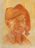 Works on Paper, PAUL CALLE (American, 1928-2010). Old Fisherman of Nazare, 1985. Colored pencil on paper. 12 x 9 inches (30.5 x 22.9 cm)...