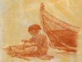 Works on Paper, PAUL CALLE (American, 1928-2010). Repairing the Nets, 1985. Colored pencil on paper. 12 x 16 inches (30.5 x 40.6 cm). Si...