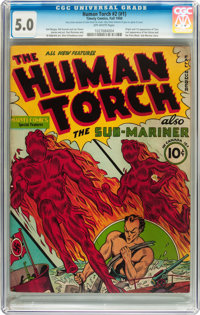 The Human Torch #2 (#1) (Timely, 1940) CGC VG/FN 5.0 Off-white pages