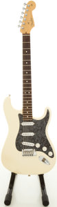 Musical Instruments:Electric Guitars, 2004 Fender Stratocaster USA Olympic White Solid Body Electric Guitar, #Z4029398....