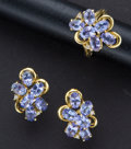 Estate Jewelry:Other , Estate Tanzanite Gold Ring & Earrings. ...