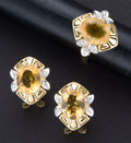 Estate Jewelry:Other , Citrine & Diamond Gold Ring & Earrings. ... (Total: 2Items)