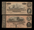 Confederate Notes:1864 Issues, T67 $20 1864. T69 $5 1864.. ... (Total: 2 notes)