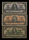 Canadian Currency: , King George VI Notes.. ... (Total: 3 notes)