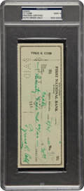 Autographs:Checks, 1951 Ty Cobb Signed Check, PSA/DNA Mint 9....
