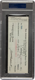 Autographs:Checks, 1924 Miller Huggins Signed New York Yankees Payroll Check, PSA/DNAMint 9....
