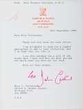 Autographs:Authors, Miss Barbara Cartland Typed Letter Signed with Two FoldedBiographical/Bibliographical Pamphlets, One Signed. (1901-2000)Le...