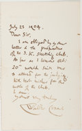 Autographs:Artists, Walter Crane Autograph Letter Signed. (1845-1915). Dated July 23,1904. Measures 7 x 4.25 inches. A note of thanks regarding...