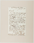 Autographs:Artists, George Cruikshank Autograph Letter Signed. (1792-1878) N.p., 1851.A cordial note of regrets from the noted British caricatu...