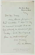 Autographs:Authors, George du Maurier Autograph Letter Signed. (1834-1896) Hampstead, London, n.d. Thank you note on the stationery of the famed...