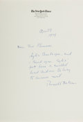 Autographs:Celebrities, Russell Baker Autograph Letter Signed....