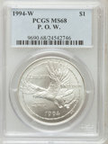 Modern Issues: , 1994-W $1 P.O.W. Silver Dollar MS68 PCGS. PCGS Population(50/1773). NGC Census: (12/1591). Mintage: 54,790. NumismediaWsl...