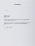 Autographs:Celebrities, Clive Barker Typed Letter Signed...