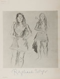 Autographs:Artists, Raphael Soyer Sketch Twice Signed....