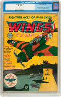 Golden Age (1938-1955):War, Wings Comics #1 (Fiction House, 1940) CGC VF 8.0 White pages....