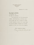 Autographs:Celebrities, Mary Roberts Rinehart Typed Letter Signed....