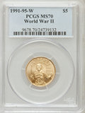 Modern Issues, 1991-1995W G$5 World War II Gold Five Dollar MS70 PCGS. PCGS Population (145). NGC Census: (754). Mintage: 23,089. Numismed...